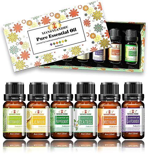 Alenyk Aceites Esenciales para Humidificador,100% Pure Natural,Perfume de Aromaterapia, 6 * 10ml-Naranja Dulce, Lavanda, Arbol de Té, Hierba de Limón, Rosemary y Menta.