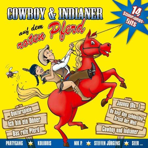 Cowboy und Indianer auf dem roten Pferd