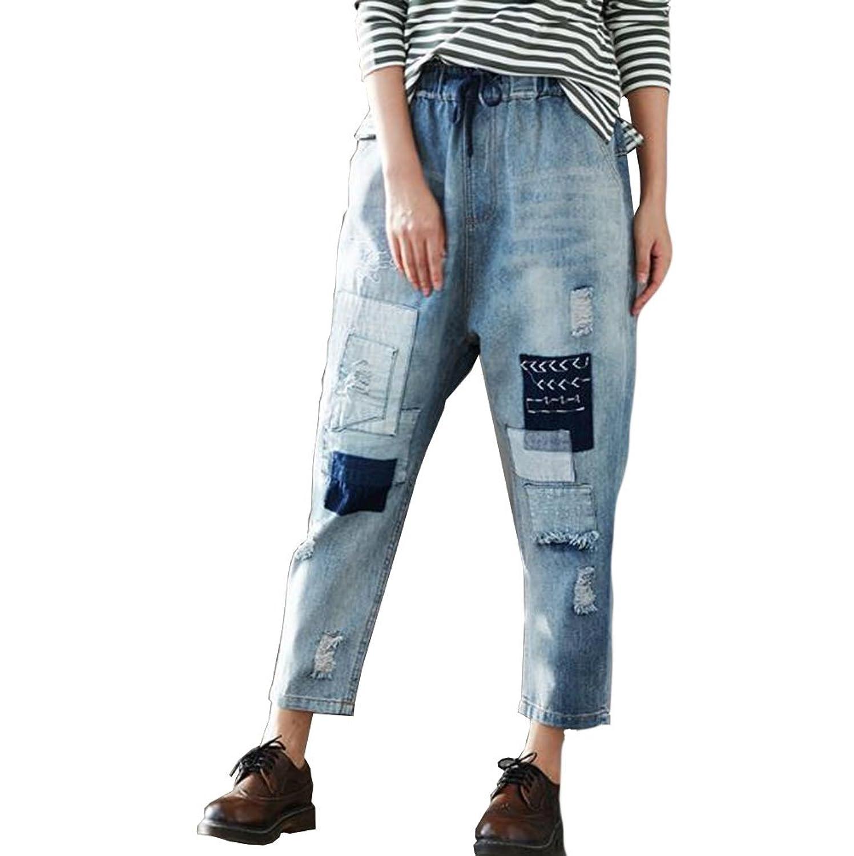 (ニカ) レディース ジーンズ ウエスト レディース デニム パンツ ゴム デニム ロング パンツ 長ズボン ダメージ ボトムス レディース 大きいサイズ