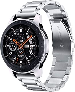 V-MORO Metal Strap Compatible with Galaxy Watch 46mm Bands/Gear S3 Classic Band Men Silver 22mm Solid Stainless Steel Business Bracelet for Samsung Galaxy Watch 46mm R800/Gear S3 Classic/Frontier