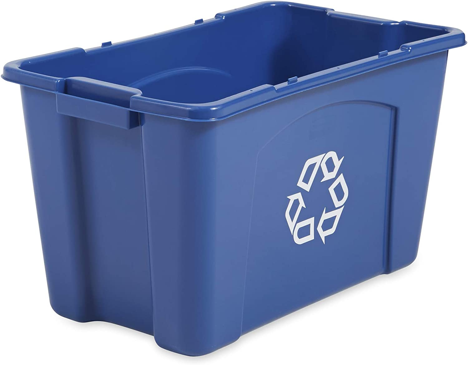 Rubbermaid Commercial Products Recycling Box Bin, 18 Gallon, bluee