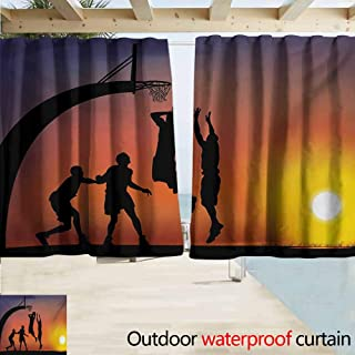 AndyTours Thermal Insulated Blackout Curtains,Teen Room Boys Playing Basketball at Sunset Horizon Sky with Dramatic Scenery,Drapes for Outdoor Decor,W63x45L Inches,Dark Coral Black Yellow