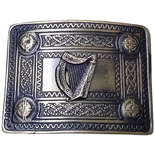 Tartan City Men's Kilt Belt Buckle Celtic Knot Work 4 Dome Mirror Design/Kilt Belt Buckle Celtic Irish Harp Antique Finish