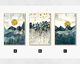 Nordic Abstract Geometric Mountain Landscape Wall Art Canvas Painting Golden Sun Art Poster Print Wall Picture for Living Room,60x80cm