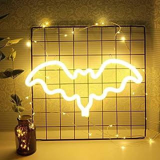 luce neon decorativa a forma di pipistrello neon Signs Wall Decor LED luce notturna per bambini, per feste di compleanno decorazione della stanza decorazione calda