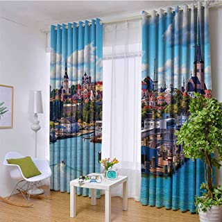European Cityscape Decor Collection 100% blackout lining curtain Scenic Summer of Old City and Sea Port in Harbor Estonia Historical Heritage Print Full shading treatment kitchen insulation curtain W