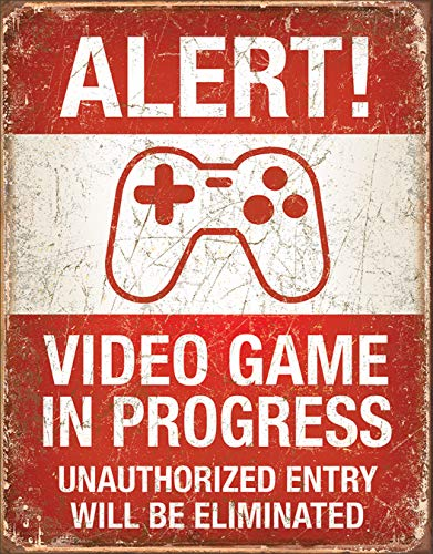 "Desperate Enterprises Alert! Video Game in Progress Tin Sign, 12.5"" W x 16"" H"