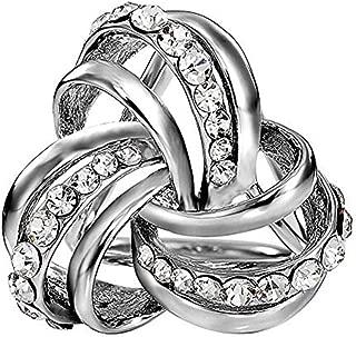 VIEEL Elegant Modern Simple Design Women's Triple-ring Diamante Metallic Silk Scarves Clip Scarf Ring Chiffon Buckle