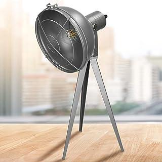 ECD Germany Set Lampe de Table Trépied + Ampoule E27 LED 4W - avec Abat-Jour - Métallique - Gris Foncé Mat - Orientable - ...