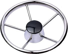 Hoffen Destroyer Style Stainless Steel 11 Inch Steering Wheel Black Cap 5 Spokes,Fits for Marine Yacht Seastar & Verado