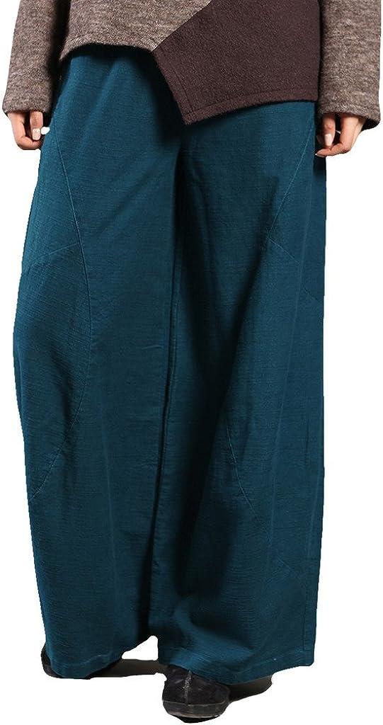 Women's National Linen Pants Solid Color Long Pants