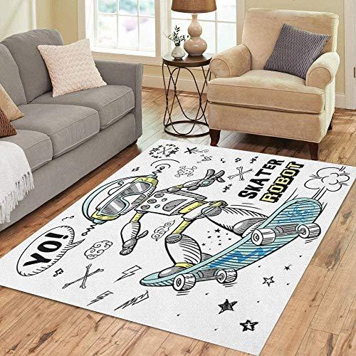 Marlon Kitty Area Rug Boy Skater Roboter Charakter Tee Skateboard Lustige Kid Sketch Collection Bodenteppiche Teppich