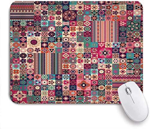 Personalisierte rechteckige Mauspad, marokkanische Patchwork Blumen geometrische Muster marokkanische Fliesen traditionelle arabische ursprüngliche tunesische, Tischmatte, Gaming Office Decor,