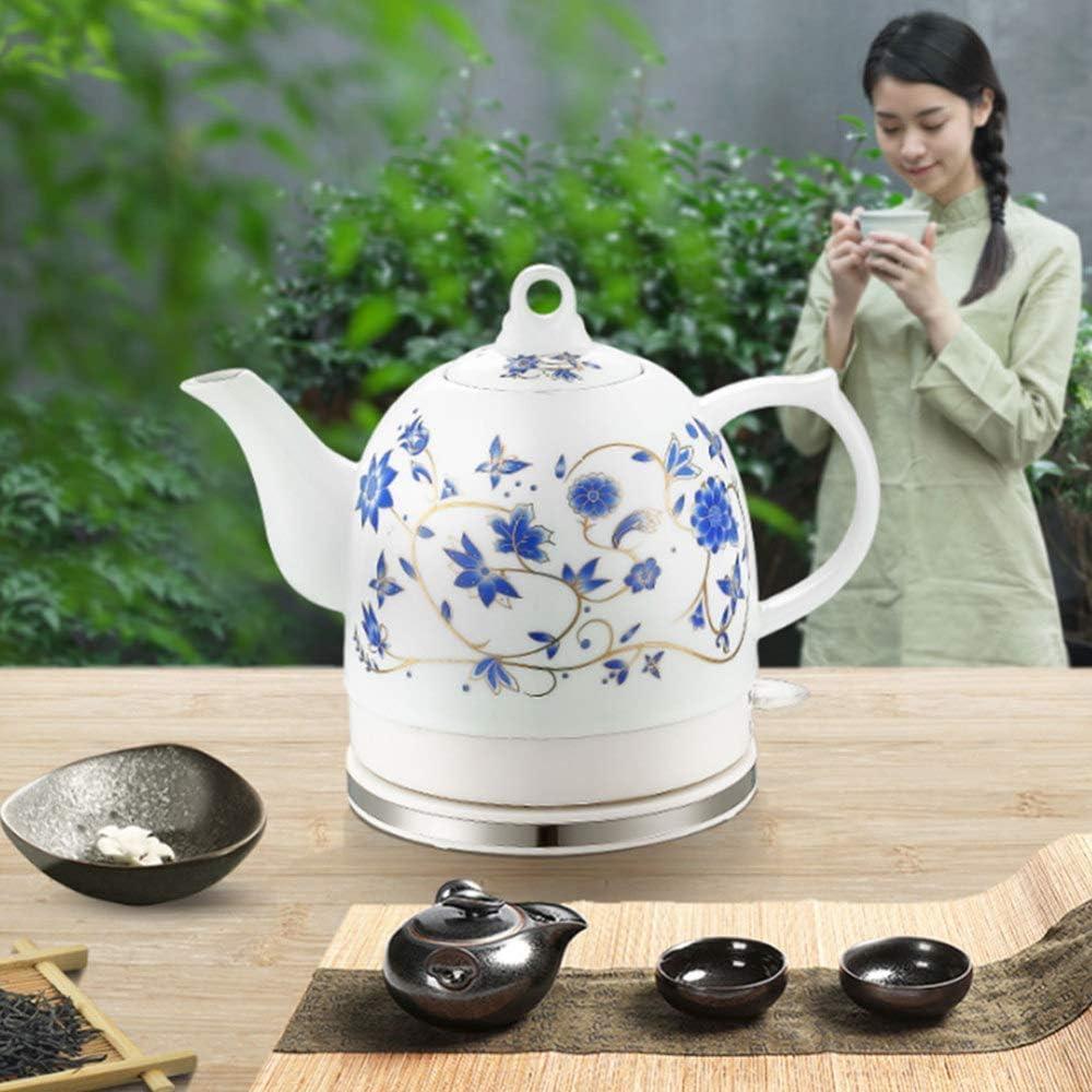 JY Orient Électrique En Céramique Bouilloire Sans Fil Blanc Teapot Rétro 1.2L Jug, Eau Oncles Plateau Flocons D'Avoine, 1000W sécurité/C A
