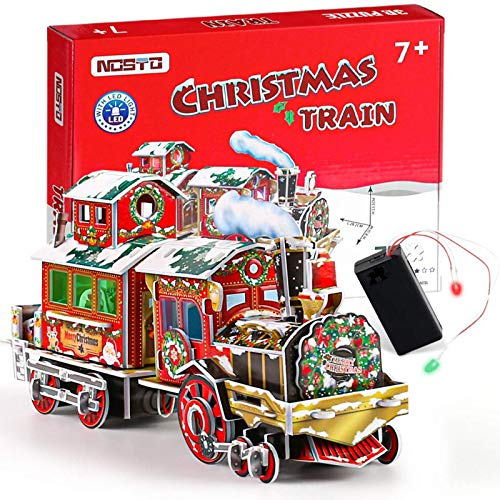3D Wooden Puzzle Train Educational Toy, Self Assembly Mechanical Construciton Craft, Christmas Train Toy Gift 3D Puzzle Building Kit for Kids and Adults