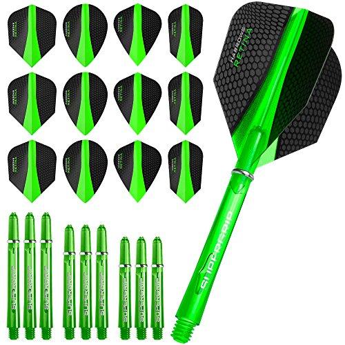 Harrows Retina Combo Kit–plumas para dardos y cañas Combo Kit–Verde–incluye dardos esquina bolígrafo con curvas