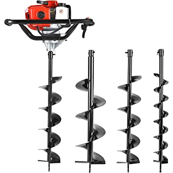 "HUYOSEN Earth Auger Power Head Heavy Duty with 52cc, 2 Cycle, Powered-Digger-Extention-Stroke-Person-Powerhead Full Engine Post Hole Digger Auger Petrol Drill Bit Earth Borer +3 Bit 4"" 6"" 8"""