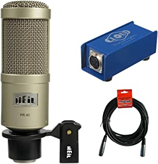 Heil Sound PR 40 Dynamic Cardioid Studio Microphone (Champagne) with Cloud Microphone CL-1 Cloudlifter Mic Activator & 20' XLR Cable Bundle