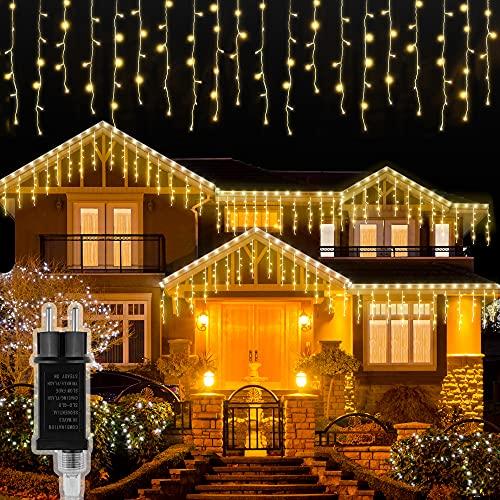 LED Lichtervorhang Aussen,5m 216 LED Lichterkette außen Innen Lichterkette Eisregen IP44 Wasserdicht,8 modi Lichtervorhang strom für Zimmer Traufe Treppe Geländer Balkon Hochzeit Weihnachten Party