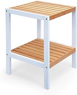 Zri Bamboo Estantería baño bambú Estantería Blanco de retención para Planta con 3Niveles Atractivo Esquina, pequeño