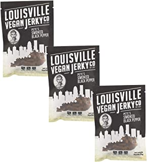 Louisville Vegan Jerky - Smoked Black Pepper, Vegetarian & Vegan Friendly Jerky, 21 Grams of Non-GMO Soy Protein, Gluten-Free Ingredients (3 oz) | 3-Pack