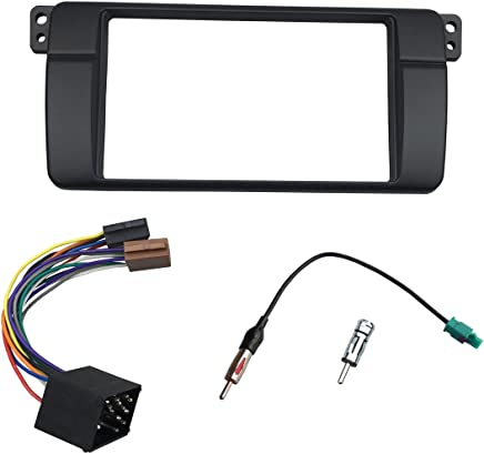 DKMUS 179x105mm Opening Dash Installation Trim Kit for BMW 3 Series M3 E46 Double Din Radio Stereo DVD Facia with Wiring Harness Antenna Adapter