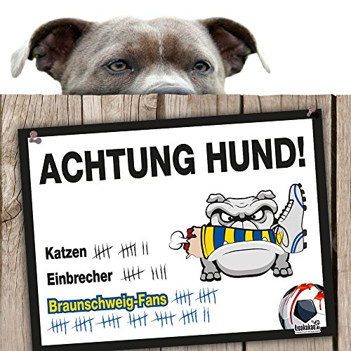 Hunde-Warnschild Schutz vor Braunschweig-Fans | Hannover 96, Wolfsburg- & alle Fußball-Fans, schützt Haus & Hof vor Braunschweig-Fans | Spaßgarantie | Achtung Vorsicht Hund Bissig