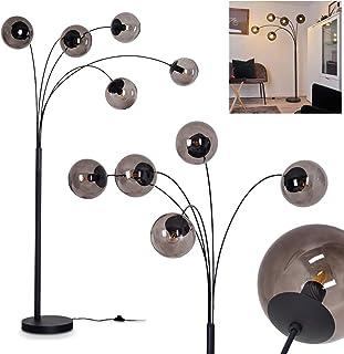 Lampadaire Mesas en métal noir, luminaire contemporain idéal dans un salon moderne, avec interrupteur sur le câble, pour 5...