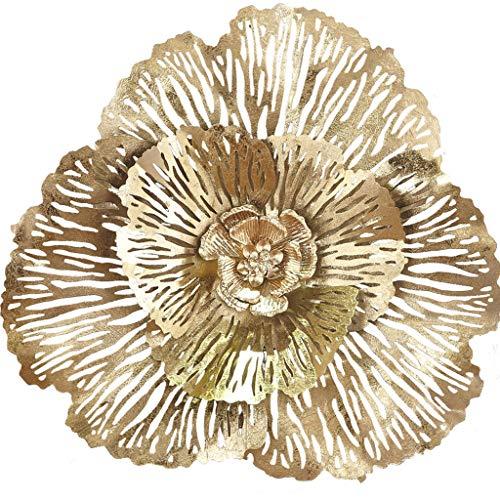 Desktop-Skulptur Pflanze Stereo Schmiedeeisen Blume Wanddekoration Anhänger Gold Metall Wohnzimmer Schlafzimmer Übergroßen 72 * 70 cm