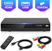 Jinhoo DVD Player for TV, All Region Free DVD CD Recorded Discs Player with HDMI & AV..