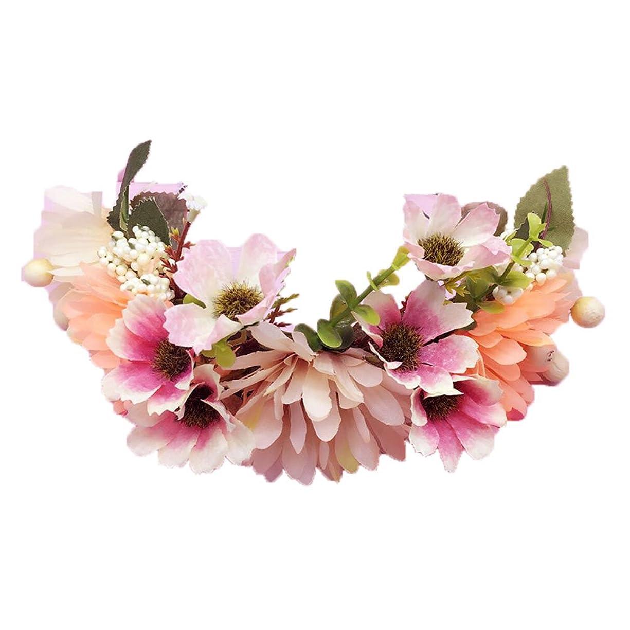 手がかり無力ずらすフラワークラウン調節可能な女性ハンドメイド花のヘッドバンドクラウンガールズ