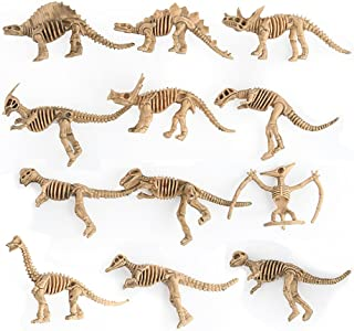 Ytzada Assorted Dinosaur Fossil Skeleton Figures Toys for Kids, Boys, Girls to Pretend, Play Time, School Activity, Dino Birthday Party Favor Pack of 12