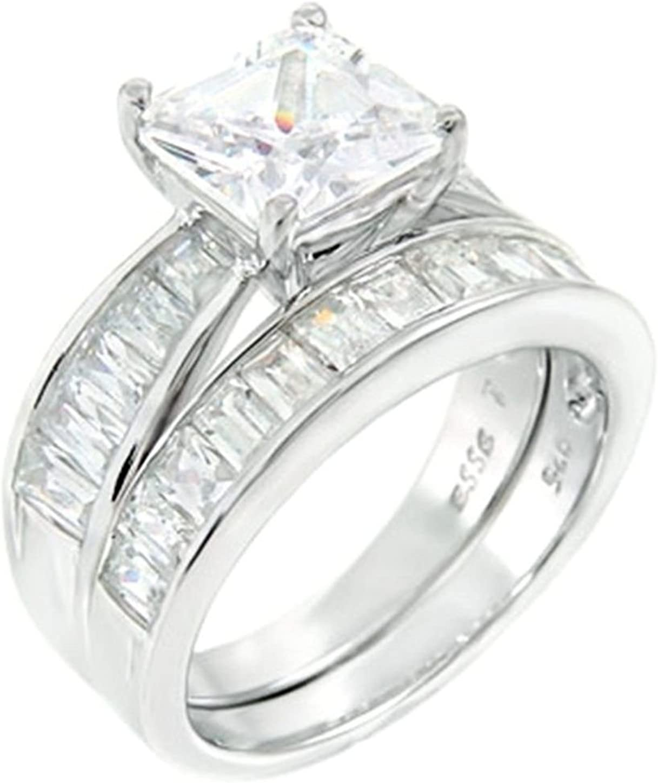 Stunning 4 ct Princess Sales results No. 1 cut 925 2 piece Wedding Silver 55% OFF rin Bridal