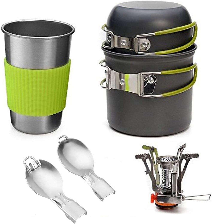Camping Cookware Mess Kit, Backpacking Pans Pot Mess Kit for 12 Person, Lightweight, for Backpacking, Outdoor Camping Hiking and Picnic