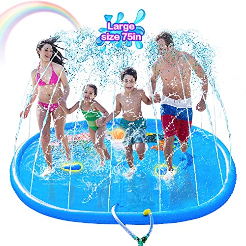 """2021 Upgrade Splash Pad 74.8"""" Play Mat Sprinkler for Kids Toddlers Dogs, Inflatable Outdoor Water Sprinkler Toys Wading Swimming Pool for for Girls Boys, Great for Learning"""