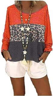 RkYAO Womens Leopard Print Spliced Casual Long-Sleeve Loose Tee Tops