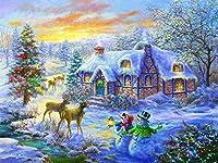 番号によるDIYペイントデジタル絵画スノーマンエルククリスマスツリーホーム新しい宿泊施設大人の大人の結婚式のギフト子供初心者