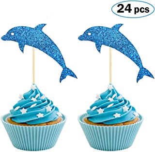 Dolphin Cupcake Toppers, Aquarium Cake Topper, Under the Sea Theme Party Supplies, Dolphin Baby Shower Birthday Party Decorations (Set of 24)
