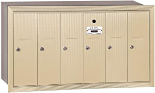 Salsbury Industries 3506SRU Recessed Mounted Vertical Mailbox with USPS Access and 6 Doors, Sandstone