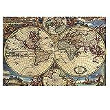 SuperPower® Creativo 1000 piezas Mapa Antiguo Mundo Globo Tierra Planeta Abstracta Arte Cuadro Navidad Cumpleaños Bricolaje Regalos Puzzles de madera, Tamaño de acabado 30x20 pulgadas