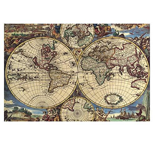 SUNYUR クリエイティブ1000ピース古代の地図地球儀地球惑星抽象美術の写真誕生日クリスマスDIYギフト木製ジグソーパズル、仕上げサイズ30x20インチ