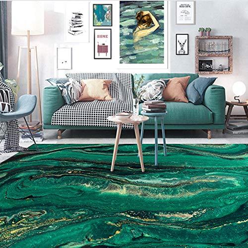 Alfombras Salon Grande Alfombra Moderna Patrón de Roca Dorada Verde Esmeralda Abstracto Antideslizante Dormitorio Decoración Alfombra 80 x 120 cm