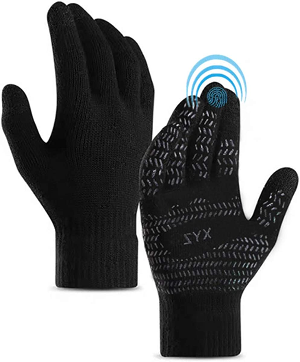 Winter Gloves Touchscreen Men,Running Gloves with Anti-Slip Silicone Gel- Warm Thermal Soft Lining - Stretchy Material…
