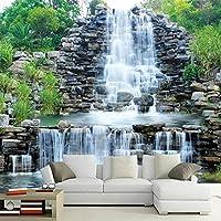 中国風の岩山の滝自然風景写真の壁紙リビングルームのテレビソファ背景壁家の装飾3D壁画壁紙-200x140cm