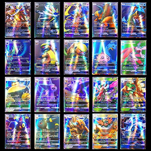 POPQ Juego de cartas de Pokemon de 200 piezas, cartas de juego de dibujos animados para niños, cartas de intercambio GX que incluyen 195 GX + 5 cartas de lucha MEGA