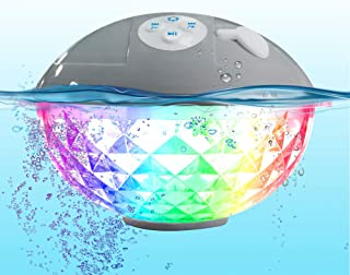 Pool Speaker with Colorful Lights, Floating Bluetooth Speaker IPX7 Waterproof,Built-in Mic,Crystal Clear Stereo Sound Spea...