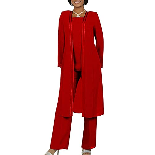 79465bc4e6f Fitty Lell Women s Chiffon Pant Suits Plus Size 3 Pieces with Long Sleeves  Jacket Mother of