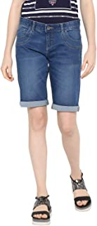 KVL Womens Regular Fit Cotton Woven Solid Mid Rise Denim Shorts (60502004_) - Blue