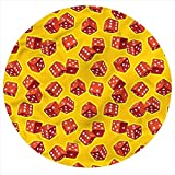 LCGGDB Yellow and Red Flannel Throw Blanket,Dice Gambling Printed Soft Receiving Blanket Baby Shower Swaddle Blanket for Crib or Stroller, Round 31.5 Inches