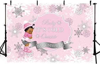 MEHOFOTO Winter Wonderland Photography Studio Backgrounds Party Decorations Snowflake Pink Little Princess Girl Baby Shower Banner Photo Backdrops 7X5ft